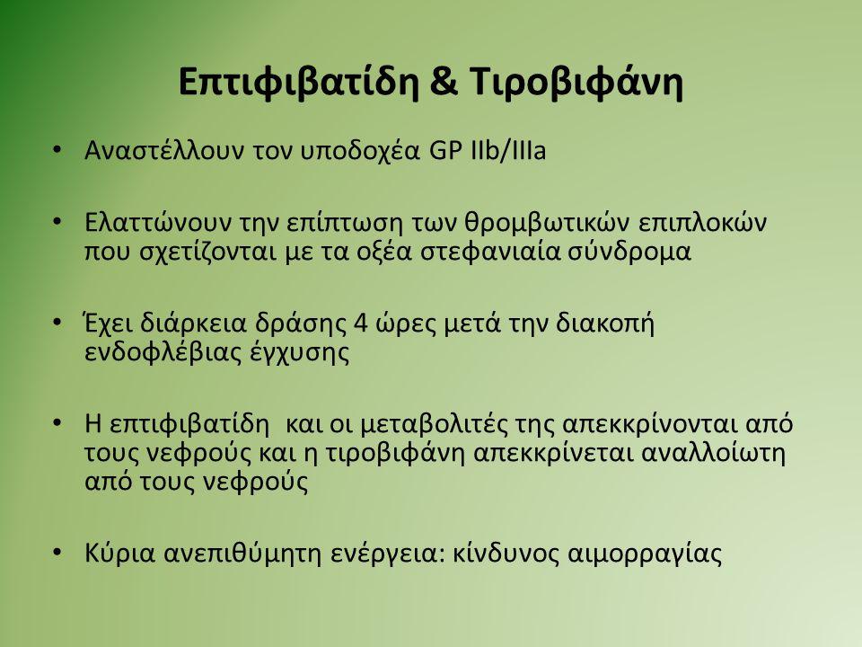 Επτιφιβατίδη & Τιροβιφάνη Αναστέλλουν τον υποδοχέα GP IIb/IIIa Ελαττώνουν την επίπτωση των θρομβωτικών επιπλοκών που σχετίζονται με τα οξέα στεφανιαία