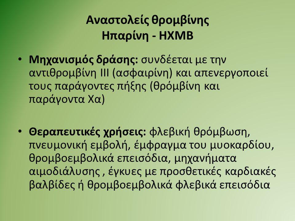 Αναστολείς θρομβίνης Ηπαρίνη - ΗΧΜΒ Μηχανισμός δράσης: συνδέεται με την αντιθρομβίνη ΙΙΙ (ασφαιρίνη) και απενεργοποιεί τους παράγοντες πήξης (θρόμβίνη