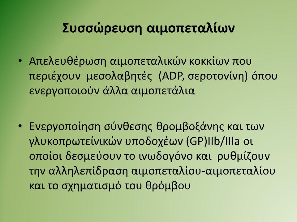 Συσσώρευση αιμοπεταλίων Απελευθέρωση αιμοπεταλικών κοκκίων που περιέχουν μεσολαβητές (ADP, σεροτονίνη) όπου ενεργοποιούν άλλα αιμοπετάλια Ενεργοποίηση