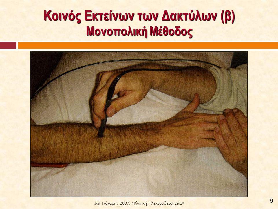 Κοινός Εκτείνων των Δακτύλων (β) Μονοπολική Μέθοδος 9  Γιόκαρης 2007, «Κλινική Ηλεκτροθεραπεία»