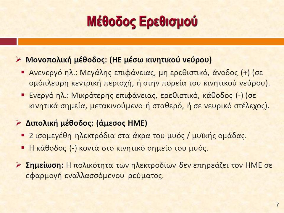 Μέθοδος Ερεθισμού  Μονοπολική μέθοδος: (ΗΕ μέσω κινητικού νεύρου)  Ανενεργό ηλ.: Μεγάλης επιφάνειας, μη ερεθιστικό, άνοδος (+) (σε ομόπλευρη κεντρικ