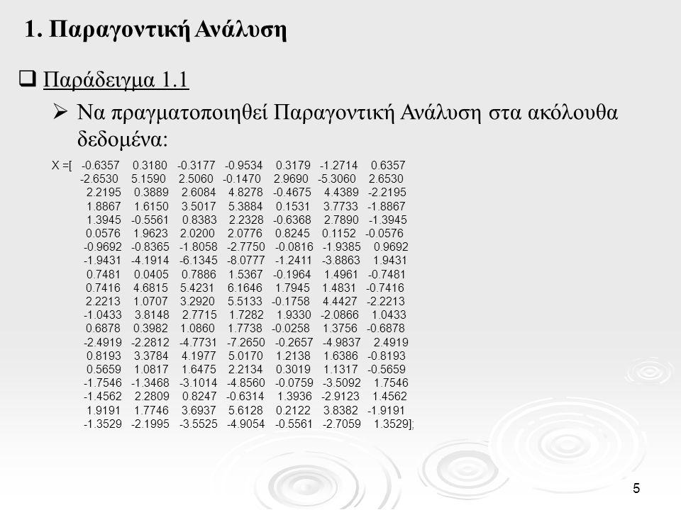 6  Παράδειγμα 1.1(συν.) Εφαρμόζουμε την Παραγοντική Ανάλυση : lambda,psi,T,stats,F] = factoran(X,2) ??.