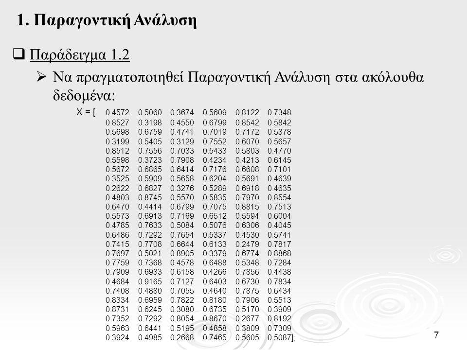 8  Παράδειγμα 1.2 (συν.) Εφαρμόζουμε την Παραγοντική Ανάλυση (εξορισμού περιστροφή) : [lambda,psi,T,stats,F] = factoran(X,2) Warning: Some unique variances are zero: cannot compute significance.