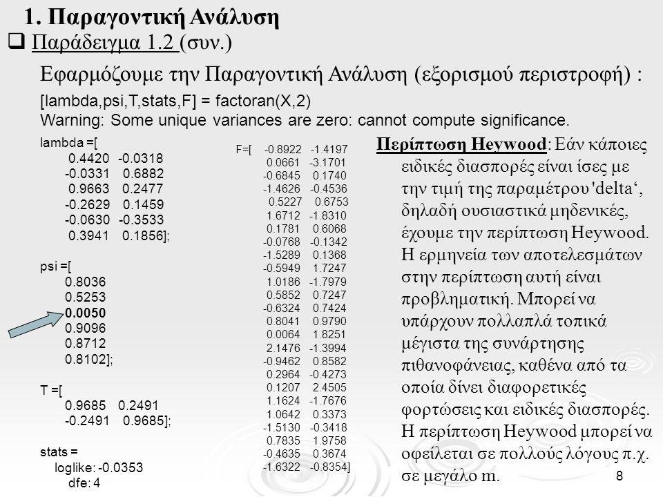 9  Παράδειγμα 1.2 (συν.) Εφαρμόζουμε την Παραγοντική Ανάλυση χωρίς περιστροφή: [lambdan,psi,Tn,stats,Fn] = factoran(X,2, rotate , none ) Warning: Some unique variances are zero: cannot compute significance.