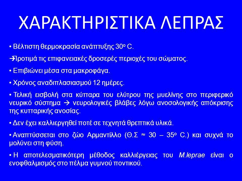 ΧΑΡΑΚΤΗΡΙΣΤΙΚΑ ΛΕΠΡΑΣ Βέλτιστη θερμοκρασία ανάπτυξης 30 ο C.  Προτιμά τις επιφανειακές δροσερές περιοχές του σώματος. Επιβιώνει μέσα στα μακροφάγα. Χ