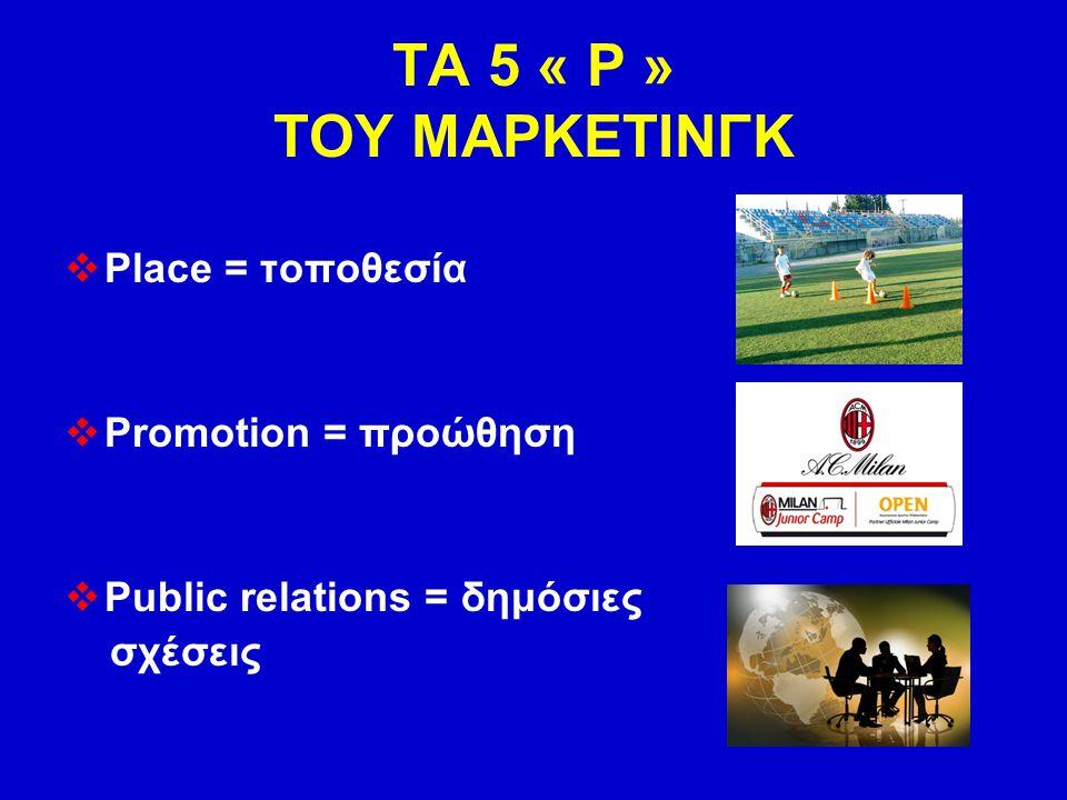 ΤΑ 5 « Ρ » ΤΟΥ ΜΑΡΚΕΤΙΝΓΚ  Place = τοποθεσία  Promotion = προώθηση  Public relations = δημόσιες σχέσεις