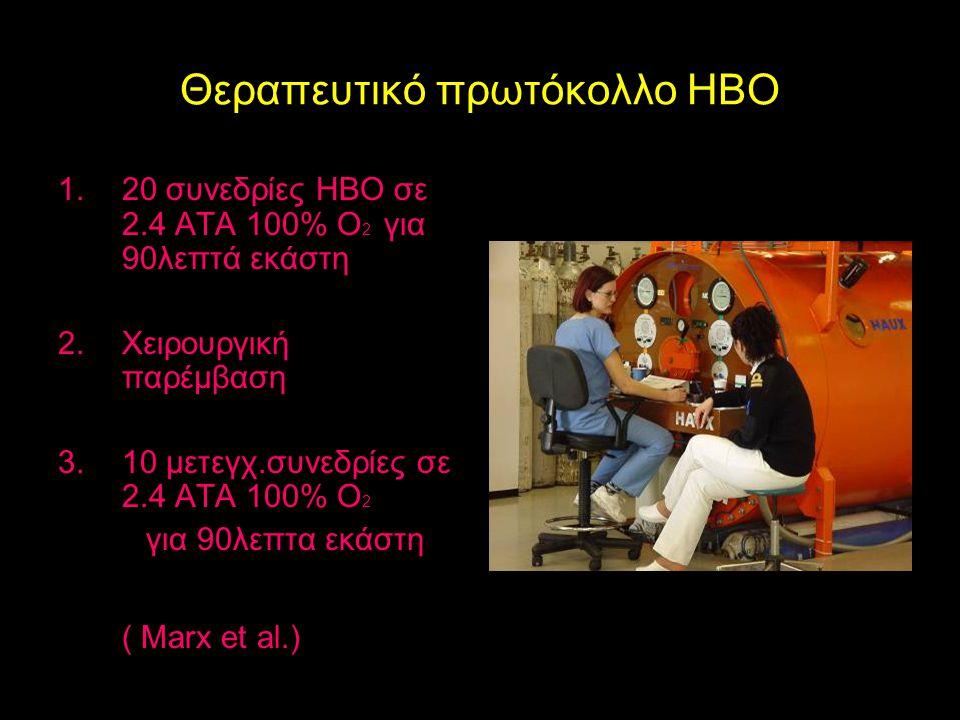 Θεραπευτικό πρωτόκολλο HBO 1.20 συνεδρίες ΗΒΟ σε 2.4 ΑΤΑ 100% Ο 2 για 90λεπτά εκάστη 2.Χειρουργική παρέμβαση 3.10 μετεγχ.συνεδρίες σε 2.4 ΑΤΑ 100% Ο 2