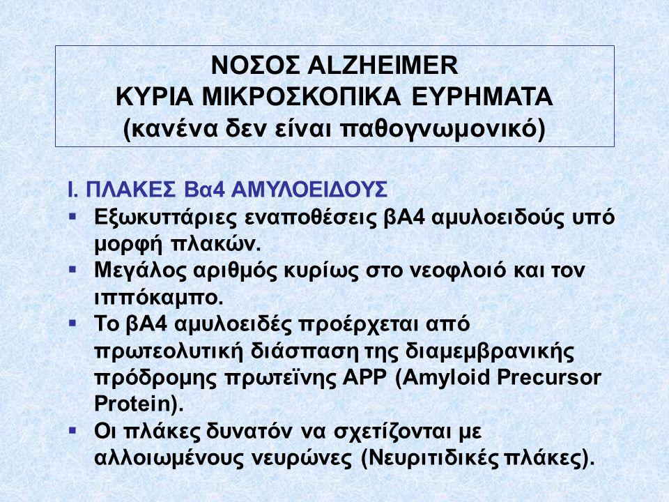 ΝΟΣΟΣ ALZHEIMER KΥΡΙΑ ΜΙΚΡΟΣΚΟΠΙΚΑ ΕΥΡΗΜΑΤΑ (κανένα δεν είναι παθογνωμονικό) Ι. ΠΛΑΚΕΣ Βα4 ΑΜΥΛΟΕΙΔΟΥΣ  Εξωκυττάριες εναποθέσεις βΑ4 αμυλοειδούς υπό