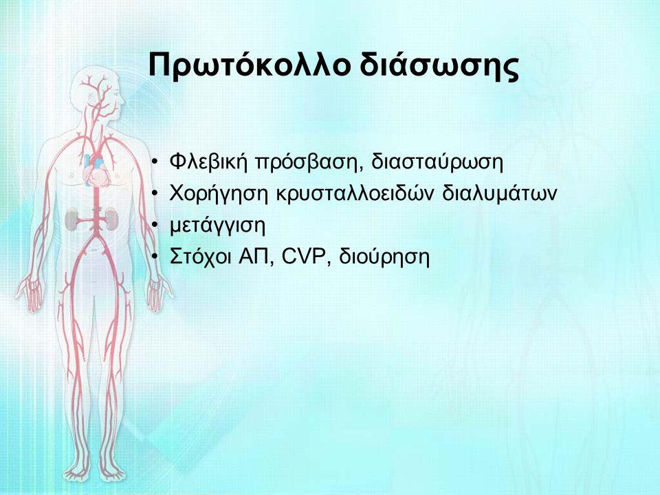 Πρωτόκολλο διάσωσης Φλεβική πρόσβαση, διασταύρωση Χορήγηση κρυσταλλοειδών διαλυμάτων μετάγγιση Στόχοι ΑΠ, CVP, διούρηση