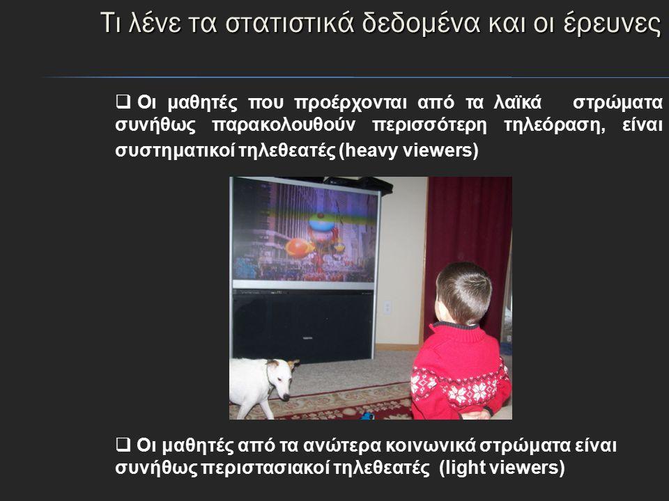 Ώρες τηλεθέασης των παιδιών 11-13 ετών, ανάλογα με το μορφωτικό επίπεδο των γονέων 1-3 ώρες ημερησίως 21%24%38% Πάνω από 3 ώρες ημερησίως 55%56%26% Πηγή: Κορωναίου A.