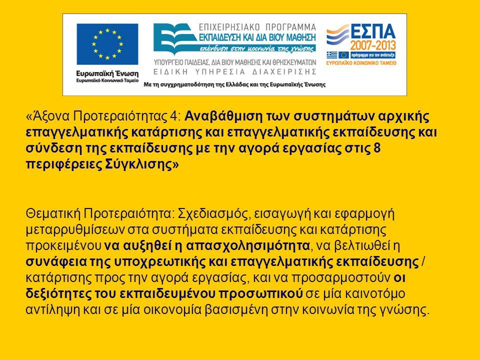 «Άξονα Προτεραιότητας 4: Αναβάθμιση των συστημάτων αρχικής επαγγελματικής κατάρτισης και επαγγελματικής εκπαίδευσης και σύνδεση της εκπαίδευσης με την αγορά εργασίας στις 8 περιφέρειες Σύγκλισης» Θεματική Προτεραιότητα: Σχεδιασμός, εισαγωγή και εφαρμογή μεταρρυθμίσεων στα συστήματα εκπαίδευσης και κατάρτισης προκειμένου να αυξηθεί η απασχολησιμότητα, να βελτιωθεί η συνάφεια της υποχρεωτικής και επαγγελματικής εκπαίδευσης / κατάρτισης προς την αγορά εργασίας, και να προσαρμοστούν οι δεξιότητες του εκπαιδευμένου προσωπικού σε μία καινοτόμο αντίληψη και σε μία οικονομία βασισμένη στην κοινωνία της γνώσης.
