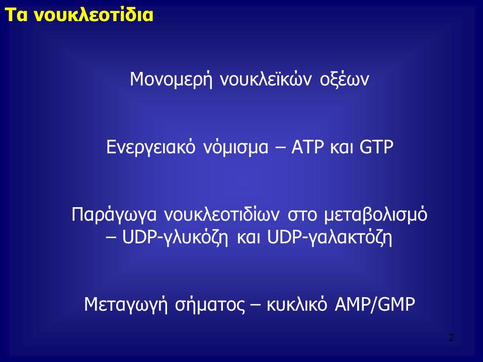 Τα νουκλεοτίδια Μονομερή νουκλεϊκών οξέων Ενεργειακό νόμισμα – ΑΤΡ και GΤΡ Παράγωγα νουκλεοτιδίων στο μεταβολισμό – UDP-γλυκόζη και UDP-γαλακτόζη Μετα