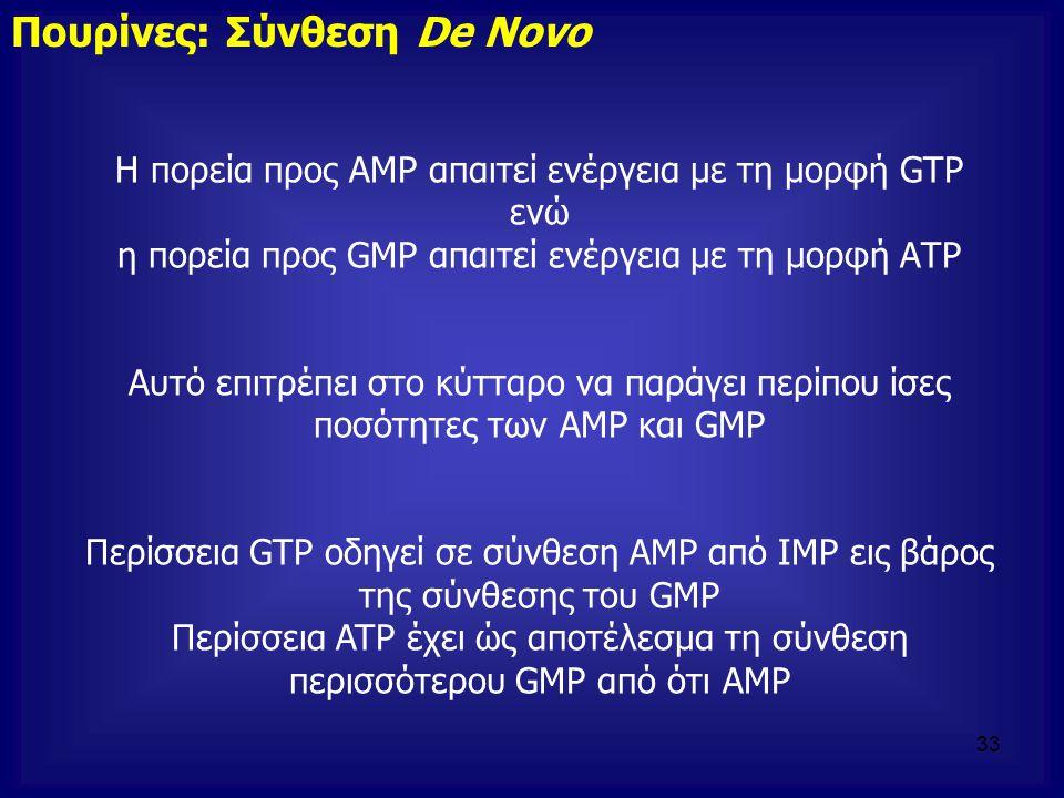 Η πορεία προς ΑΜΡ απαιτεί ενέργεια με τη μορφή GTP ενώ η πορεία προς GMP απαιτεί ενέργεια με τη μορφή ΑΤΡ Αυτό επιτρέπει στο κύτταρο να παράγει περίπο