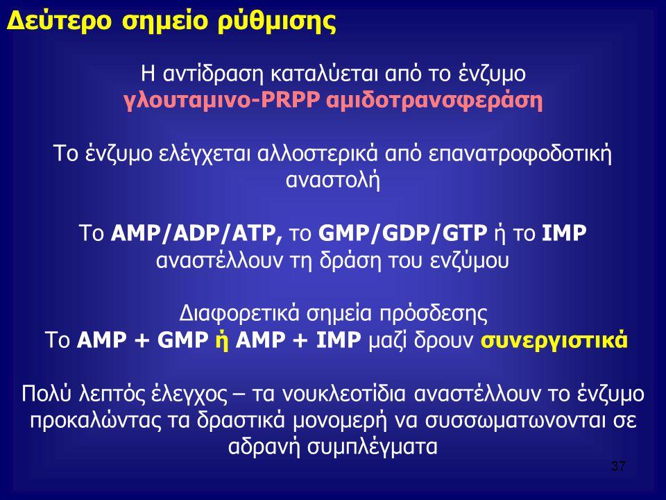 Η αντίδραση καταλύεται από το ένζυμο γλουταμινο-PRPP αμιδοτρανσφεράση Το ένζυμο ελέγχεται αλλοστερικά από επανατροφοδοτική αναστολή Το AMP/ADP/ATP, το