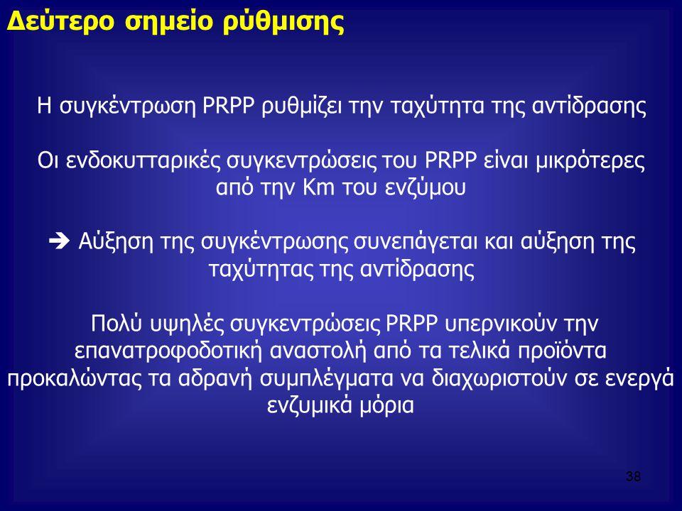 Η συγκέντρωση PRPP ρυθμίζει την ταχύτητα της αντίδρασης Οι ενδοκυτταρικές συγκεντρώσεις του PRPP είναι μικρότερες από την Km του ενζύμου  Αύξηση της