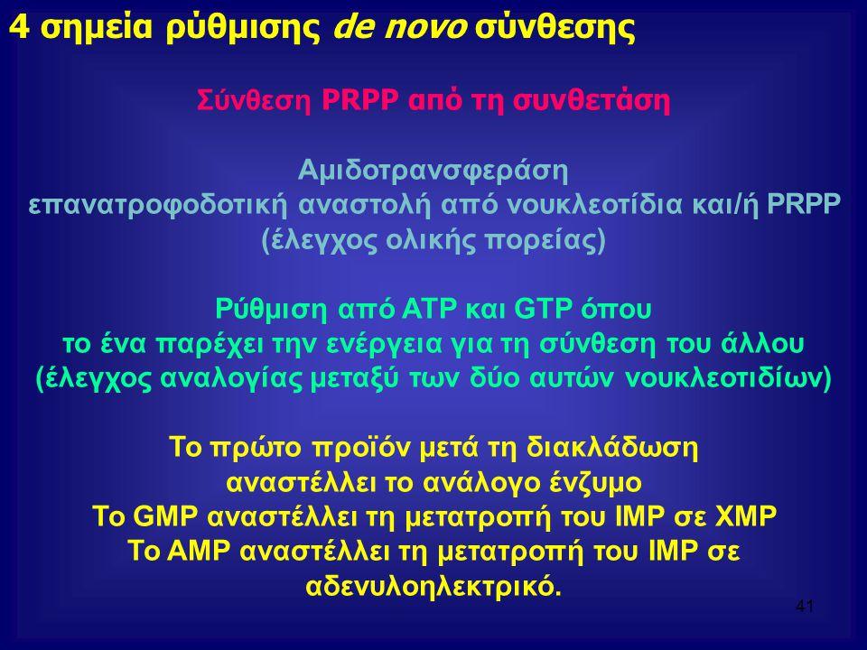 Σύνθεση PRPP από τη συνθετάση Αμιδοτρανσφεράση επανατροφοδοτική αναστολή από νουκλεοτίδια και/ή PRPP (έλεγχος ολικής πορείας) Ρύθμιση από ATP και GTP