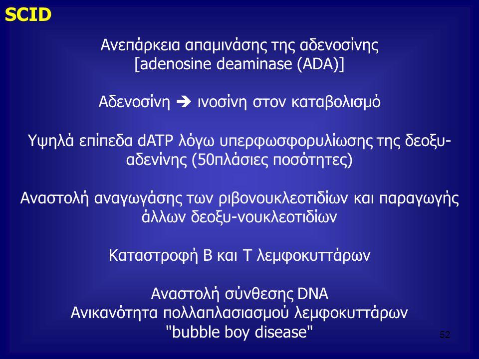 Ανεπάρκεια απαμινάσης της αδενοσίνης [adenosine deaminase (ADA)] Αδενοσίνη  ινοσίνη στον καταβολισμό Υψηλά επίπεδα dATP λόγω υπερφωσφορυλίωσης της δε