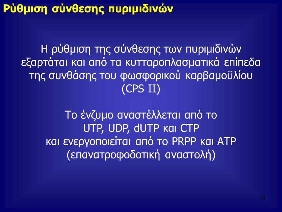 Η ρύθμιση της σύνθεσης των πυριμιδινών εξαρτάται και από τα κυτταροπλασματικά επίπεδα της συνθάσης του φωσφορικού καρβαμοϋλίου (CPS II) Το ένζυμο ανασ