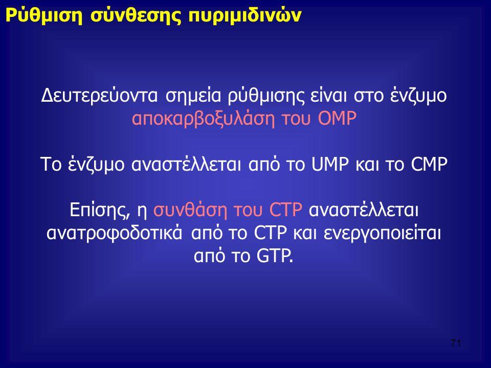 Δευτερεύοντα σημεία ρύθμισης είναι στο ένζυμο αποκαρβοξυλάση του OMP Το ένζυμο αναστέλλεται από το UMP και το CMP Επίσης, η συνθάση του CTP αναστέλλετ