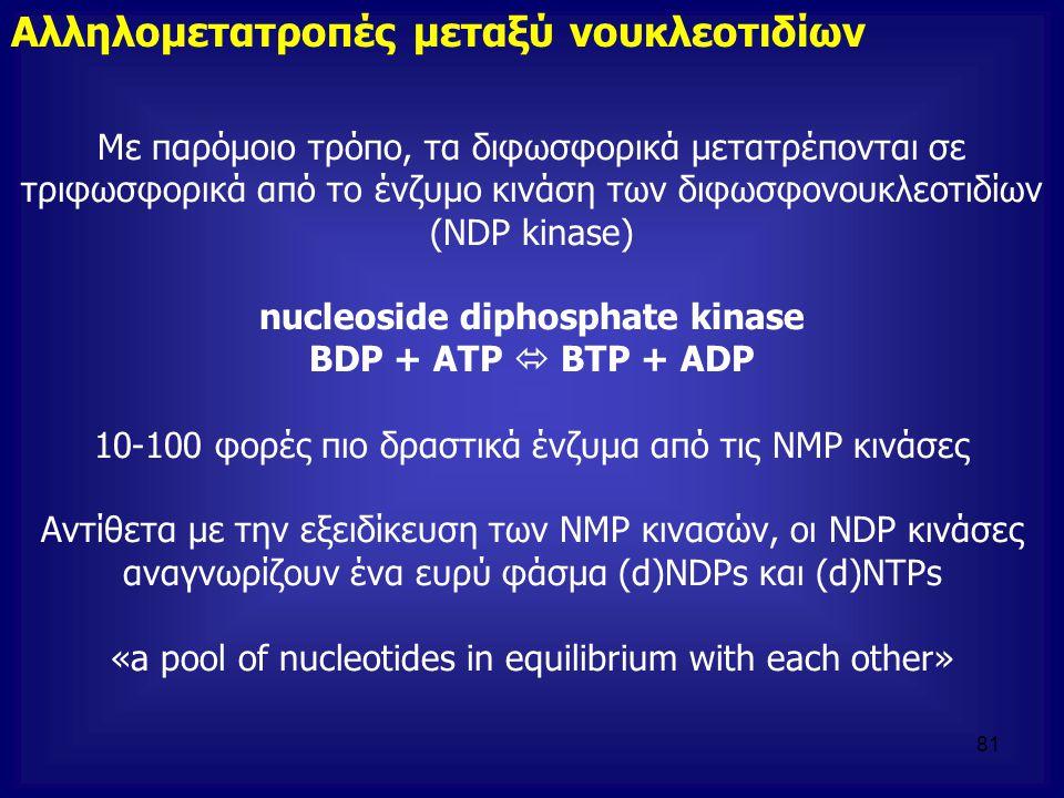 Με παρόμοιο τρόπο, τα διφωσφορικά μετατρέπονται σε τριφωσφορικά από το ένζυμο κινάση των διφωσφονουκλεοτιδίων (ΝDP kinase) nucleoside diphosphate kina