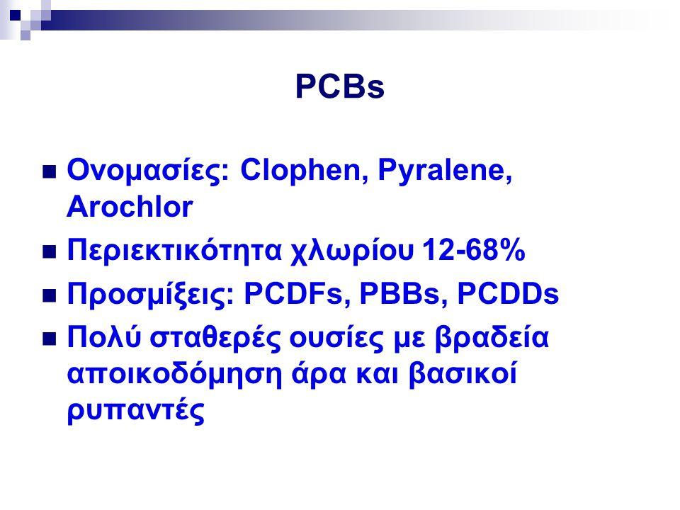 PCBs Ονομασίες: Clophen, Pyralene, Arochlor Περιεκτικότητα χλωρίου 12-68% Προσμίξεις: PCDFs, PBBs, PCDDs Πολύ σταθερές ουσίες με βραδεία αποικοδόμηση