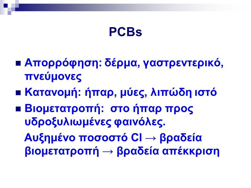 PCBs Απορρόφηση: δέρμα, γαστρεντερικό, πνεύμονες Κατανομή: ήπαρ, μύες, λιπώδη ιστό Βιομετατροπή: στο ήπαρ προς υδροξυλιωμένες φαινόλες. Αυξημένο ποσοσ