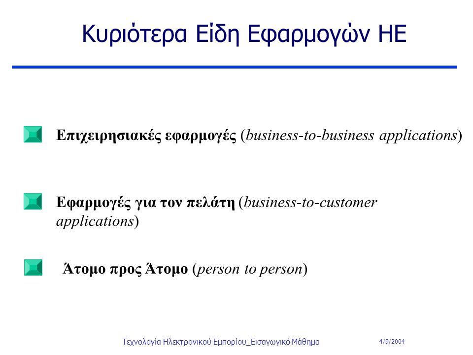 4/9/2004 Τεχνολογία Ηλεκτρονικού Εμπορίου_Εισαγωγικό Μάθημα Κυριότερα Είδη Εφαρμογών ΗΕ Επιχειρησιακές εφαρμογές (business-to-business applications) Ε