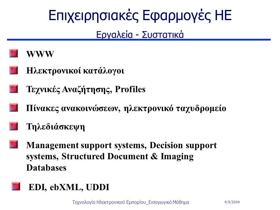 4/9/2004 Τεχνολογία Ηλεκτρονικού Εμπορίου_Εισαγωγικό Μάθημα Επιχειρησιακές Εφαρμογές ΗΕ Εργαλεία - Συστατικά WWW Τηλεδιάσκεψη Management support syste