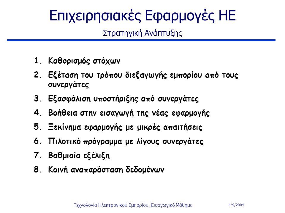 4/9/2004 Τεχνολογία Ηλεκτρονικού Εμπορίου_Εισαγωγικό Μάθημα Επιχειρησιακές Εφαρμογές ΗΕ Στρατηγική Ανάπτυξης 1.Καθορισμός στόχων 2.Εξέταση του τρόπου