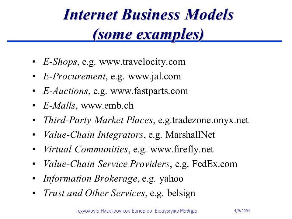 4/9/2004 Τεχνολογία Ηλεκτρονικού Εμπορίου_Εισαγωγικό Μάθημα Internet Business Models (some examples) E-Shops, e.g. www.travelocity.com E-Procurement,