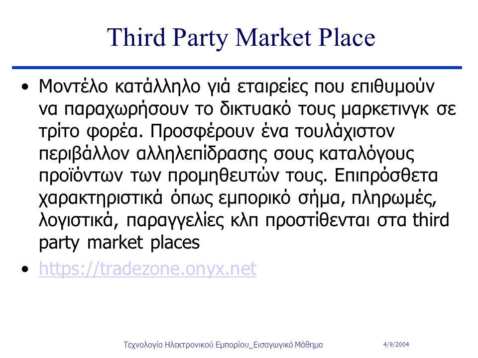 4/9/2004 Τεχνολογία Ηλεκτρονικού Εμπορίου_Εισαγωγικό Μάθημα Third Party Market Place Μοντέλο κατάλληλο γιά εταιρείες που επιθυμούν να παραχωρήσουν το