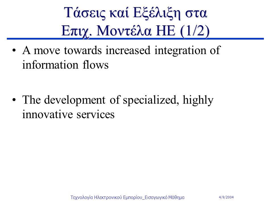 4/9/2004 Τεχνολογία Ηλεκτρονικού Εμπορίου_Εισαγωγικό Μάθημα Τάσεις καί Εξέλιξη στα Επιχ. Μοντέλα ΗΕ (1/2) A move towards increased integration of info