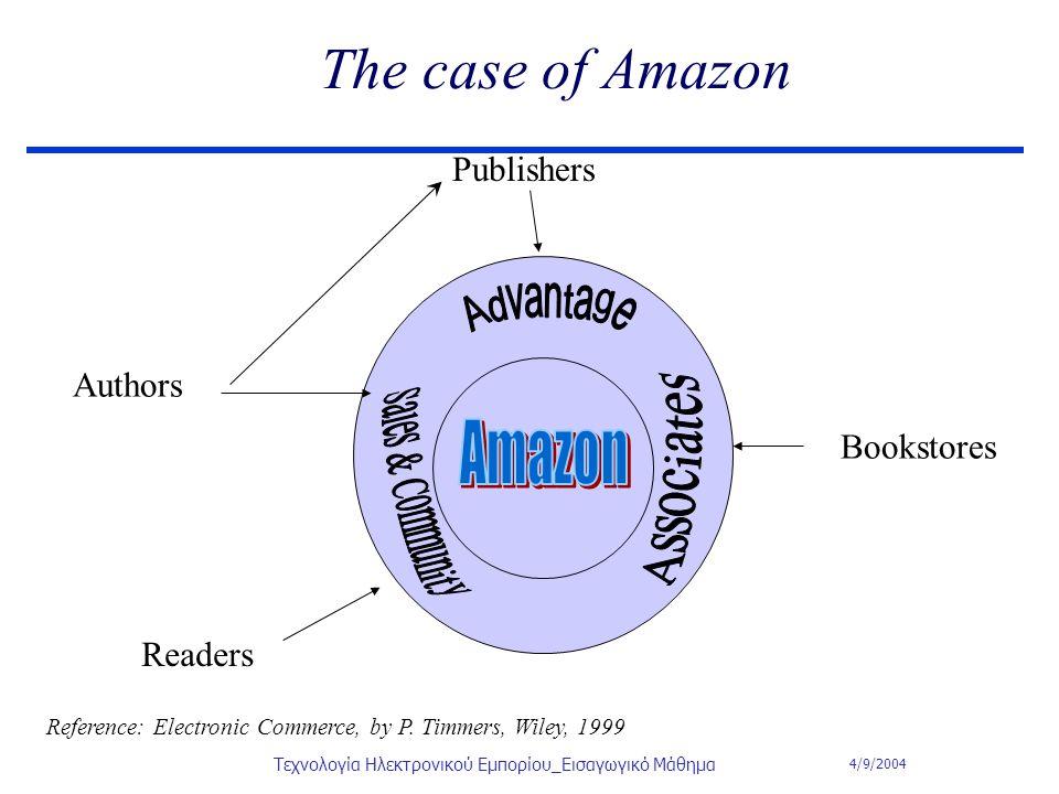 4/9/2004 Τεχνολογία Ηλεκτρονικού Εμπορίου_Εισαγωγικό Μάθημα The case of Amazon Publishers Authors Bookstores Readers Reference: Electronic Commerce, b