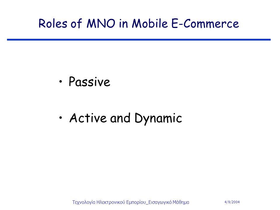 4/9/2004 Τεχνολογία Ηλεκτρονικού Εμπορίου_Εισαγωγικό Μάθημα Roles of MNO in Mobile E-Commerce Passive Active and Dynamic