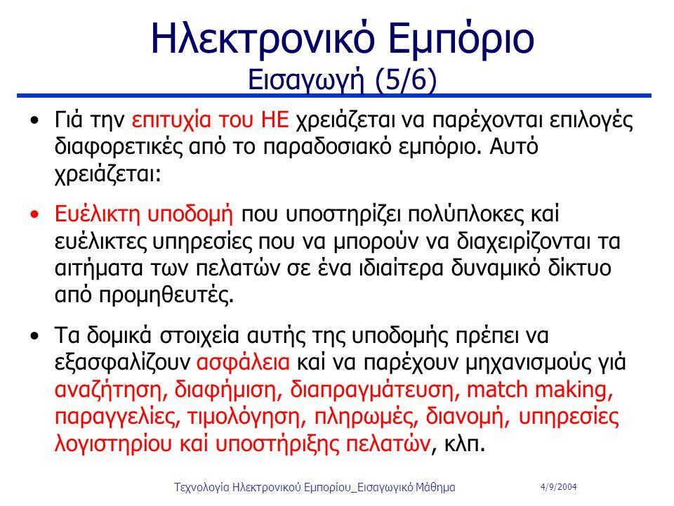 4/9/2004 Τεχνολογία Ηλεκτρονικού Εμπορίου_Εισαγωγικό Μάθημα Ηλεκτρονικό Εμπόριο Εισαγωγή (5/6) Γιά την επιτυχία του ΗΕ χρειάζεται να παρέχονται επιλογ