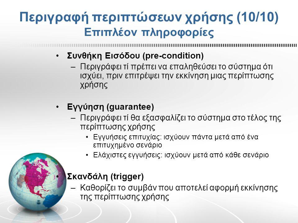 Περιγραφή περιπτώσεων χρήσης (10/10) Επιπλέον πληροφορίες Συνθήκη Εισόδου (pre-condition) –Περιγράφει τί πρέπει να επαληθεύσει το σύστημα ότι ισχύει,