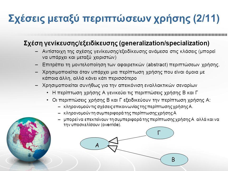 Σχέσεις μεταξύ περιπτώσεων χρήσης (2/11) Σχέση γενίκευσης/εξειδίκευσης (generalization/specialization) –Αντίστοιχη της σχέσης γενίκευσης/εξειδίκευσης