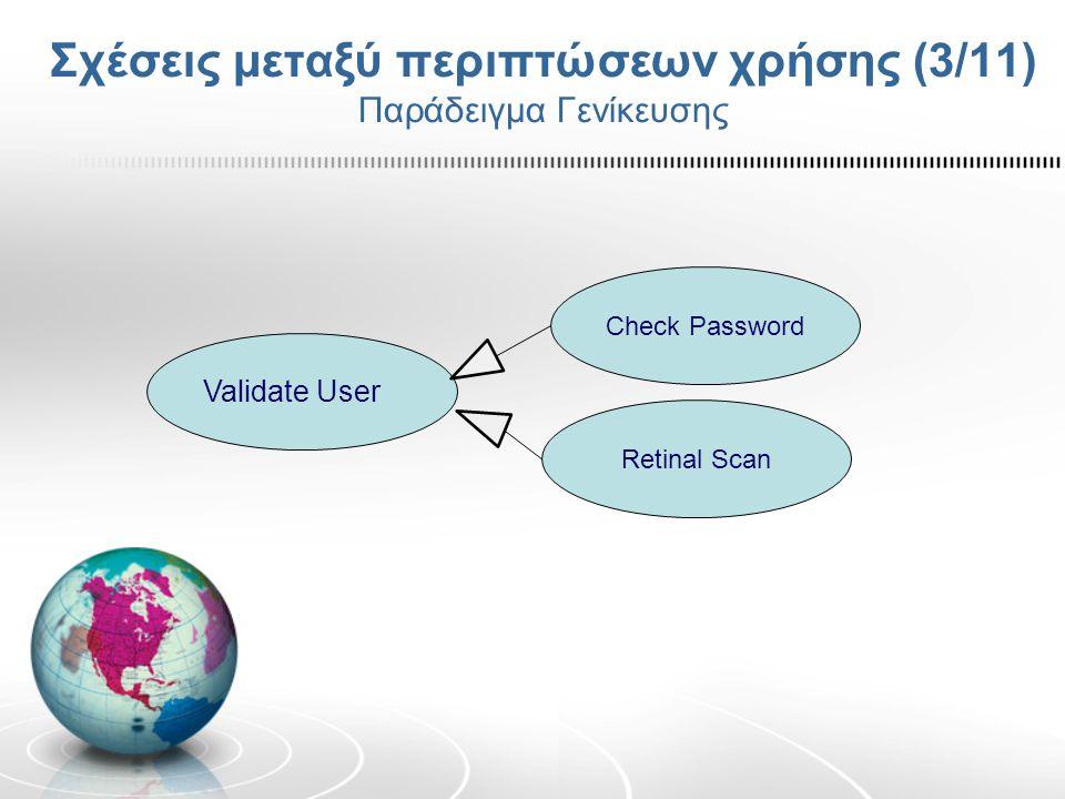 Σχέσεις μεταξύ περιπτώσεων χρήσης (3/11) Παράδειγμα Γενίκευσης Check Password Retinal Scan Validate User