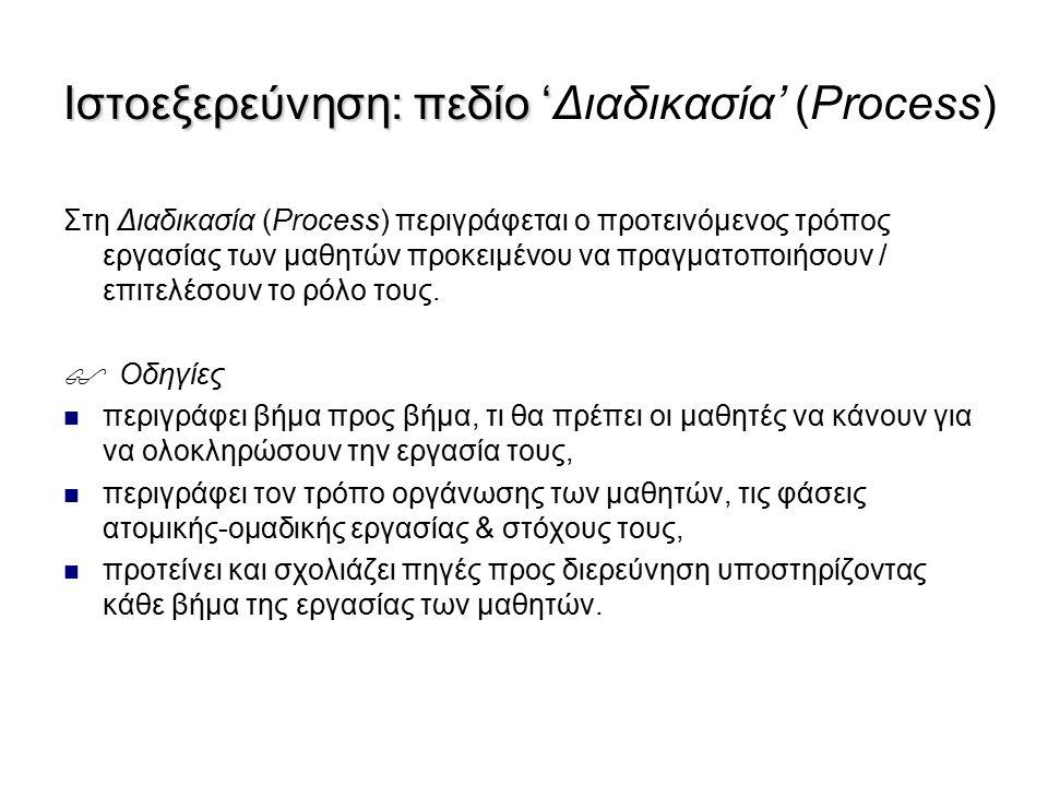 Στη Διαδικασία (Process) περιγράφεται ο προτεινόμενος τρόπος εργασίας των μαθητών προκειμένου να πραγματοποιήσουν / επιτελέσουν το ρόλο τους.  Οδηγίε