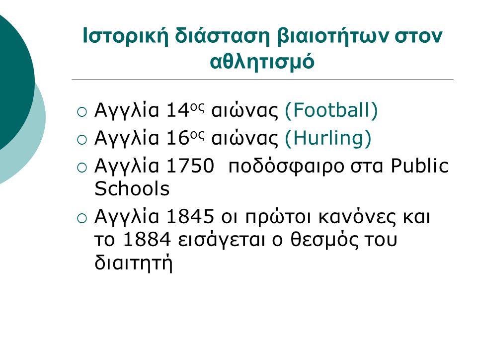 Ιστορική διάσταση βιαιοτήτων στον αθλητισμό  Αγγλία 14 ος αιώνας (Football)  Αγγλία 16 ος αιώνας (Hurling)  Αγγλία 1750 ποδόσφαιρο στα Public Schoo