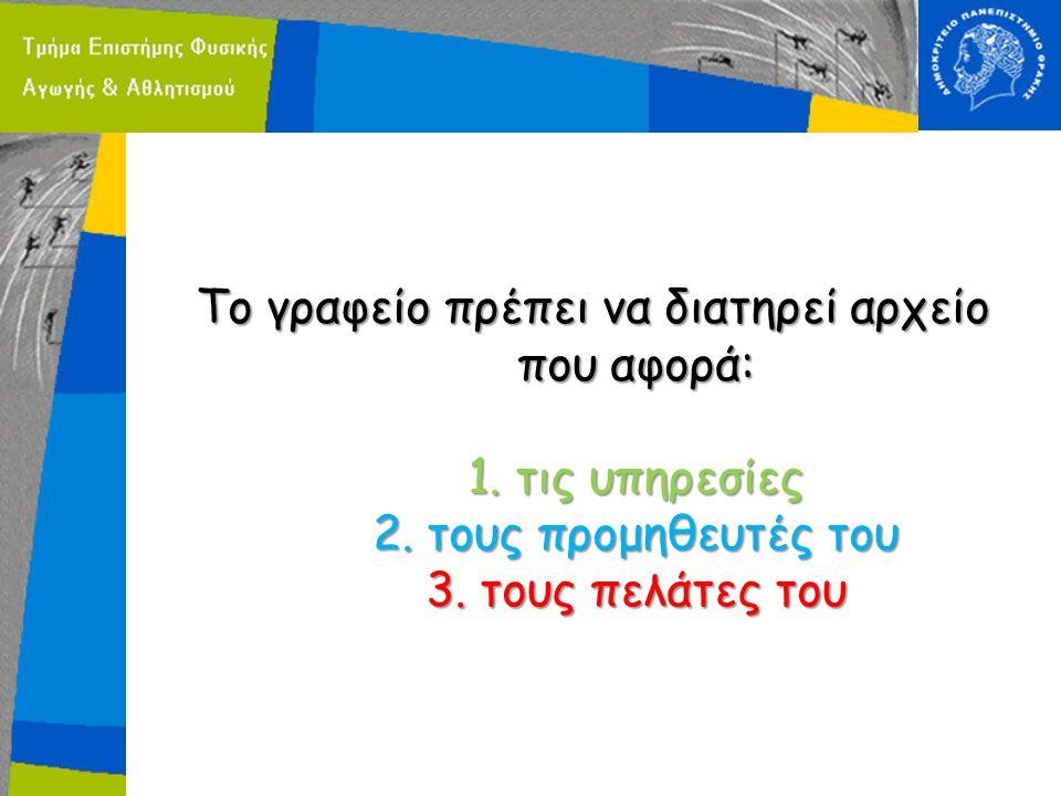Το γραφείο πρέπει να διατηρεί αρχείο που αφορά: 1. τις υπηρεσίες 2. τους προμηθευτές του 3. τους πελάτες του