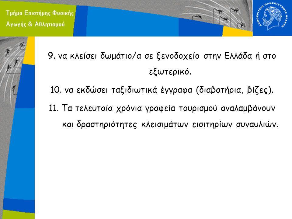 9. να κλείσει δωμάτιο/α σε ξενοδοχείο στην Ελλάδα ή στο εξωτερικό. 10. να εκδώσει ταξιδιωτικά έγγραφα (διαβατήρια, βίζες). 11. Τα τελευταία χρόνια γρα