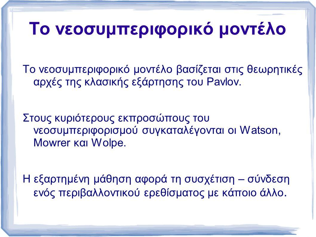 To νεοσυμπεριφορικό μοντέλο To νεοσυμπεριφορικό μοντέλο βασίζεται στις θεωρητικές αρχές της κλασικής εξάρτησης του Pavlov.