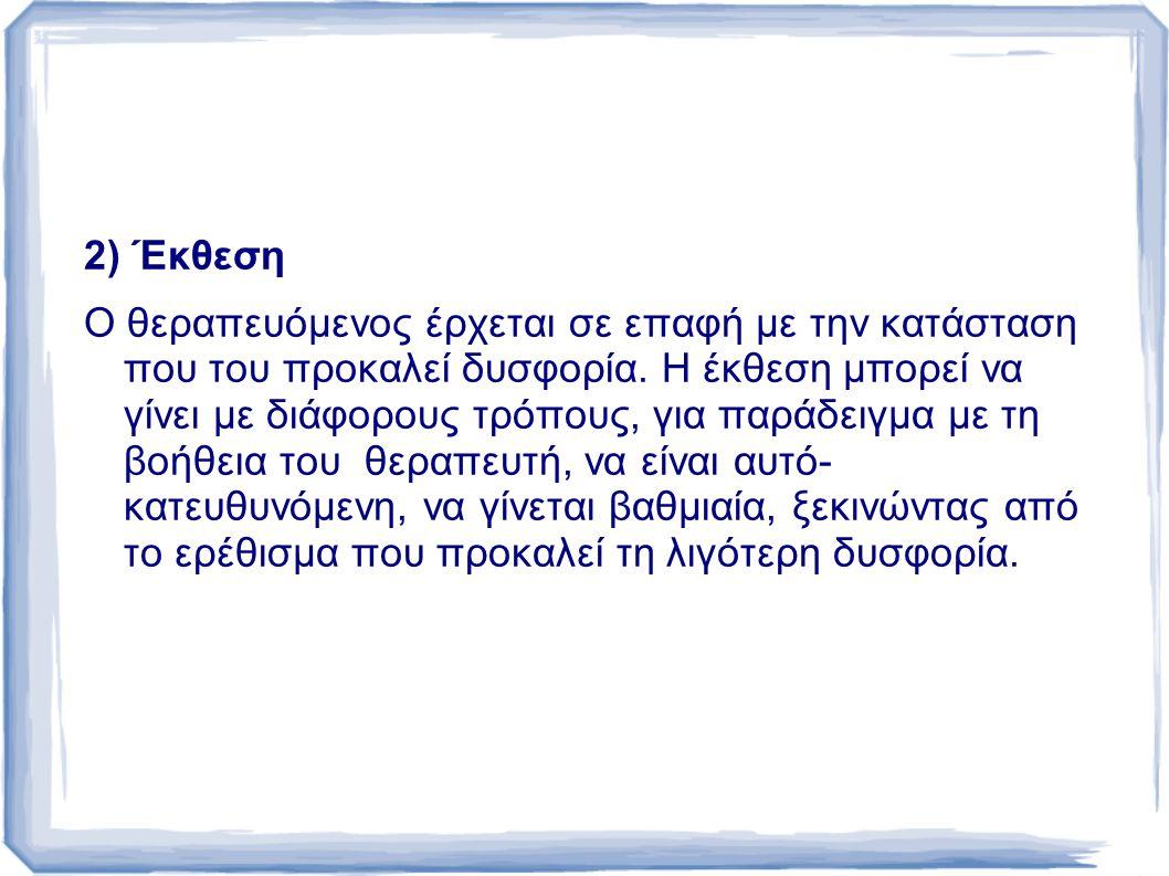 2) Έκθεση Ο θεραπευόμενος έρχεται σε επαφή µε την κατάσταση που του προκαλεί δυσφορία.