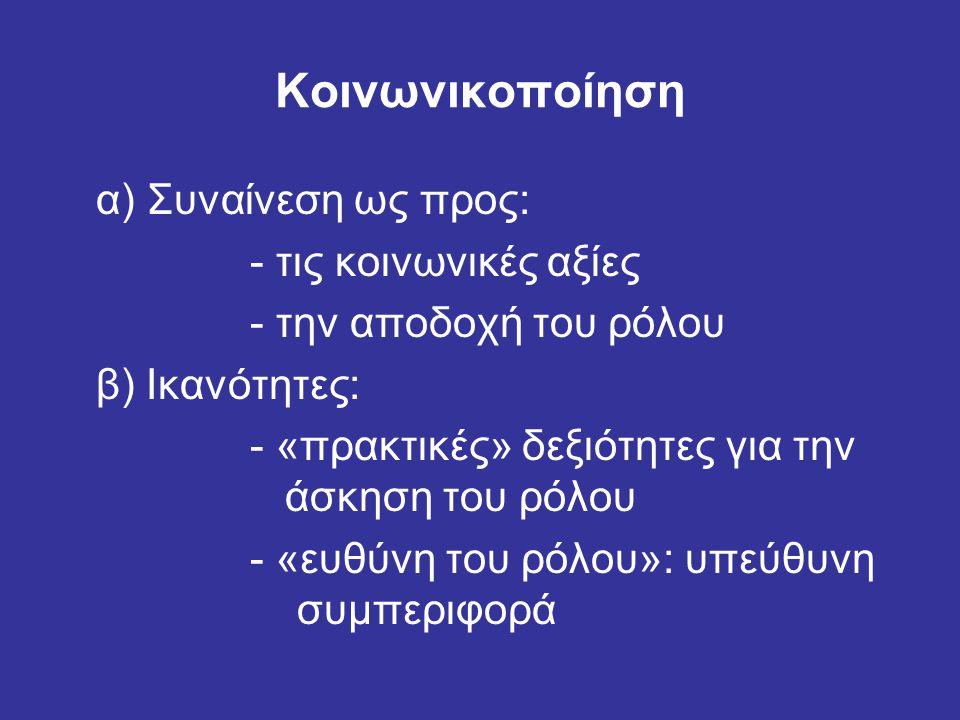 Κοινωνικοποίηση α) Συναίνεση ως προς: - τις κοινωνικές αξίες - την αποδοχή του ρόλου β) Ικανότητες: - «πρακτικές» δεξιότητες για την άσκηση του ρόλου