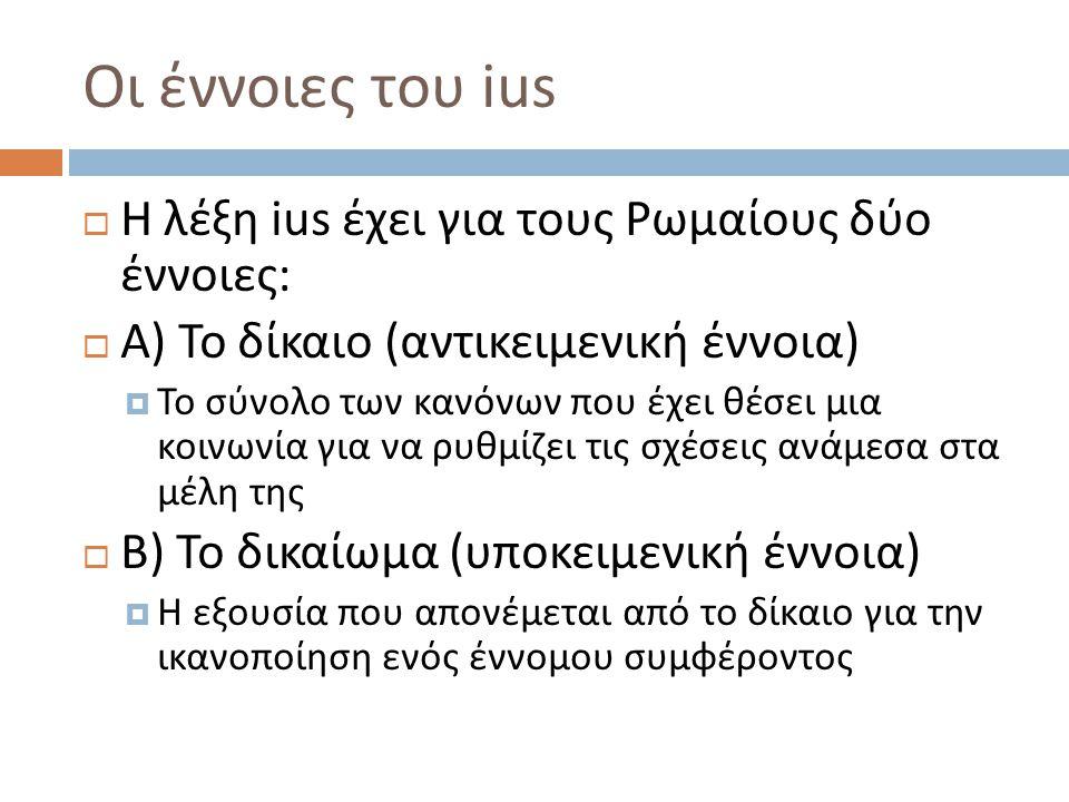 Οι έννοιες του ius  H λέξη ius έχει για τους Ρωμαίους δύο έννοιες :  Α ) Το δίκαιο ( αντικειμενική έννοια )  Το σύνολο των κανόνων που έχει θέσει μια κοινωνία για να ρυθμίζει τις σχέσεις ανάμεσα στα μέλη της  Β ) Το δικαίωμα ( υποκειμενική έννοια )  Η εξουσία που απονέμεται από το δίκαιο για την ικανοποίηση ενός έννομου συμφέροντος