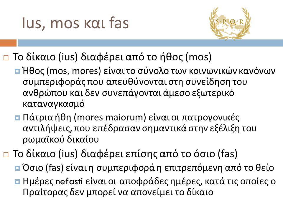 Ius, mos και fas  Το δίκαιο (ius) διαφέρει από το ήθος (mos)  Ήθος (mos, mores) είναι το σύνολο των κοινωνικών κανόνων συμπεριφοράς που απευθύνονται