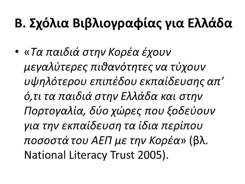 Β. Σχόλια Βιβλιογραφίας για Ελλάδα «Τα παιδιά στην Κορέα έχουν μεγαλύτερες πιθανότητες να τύχουν υψηλότερου επιπέδου εκπαίδευσης απ' ό,τι τα παιδιά στ
