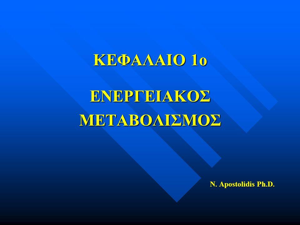 ΚΕΦΑΛΑΙΟ 1ο ΕΝΕΡΓΕΙΑΚΟΣΜΕΤΑΒΟΛΙΣΜΟΣ N. Apostolidis Ph.D.