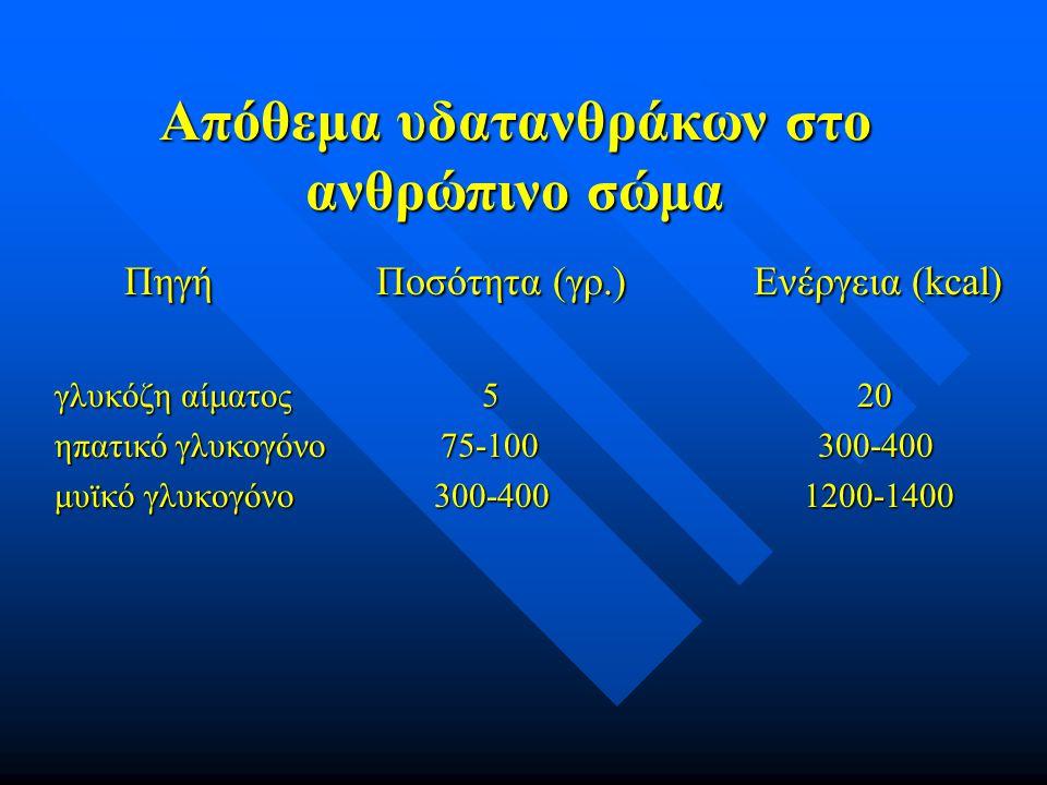 Απόθεμα υδατανθράκων στο ανθρώπινο σώμα Πηγή Ποσότητα (γρ.) Ενέργεια (kcal) Πηγή Ποσότητα (γρ.) Ενέργεια (kcal) γλυκόζη αίματος 5 20 ηπατικό γλυκογόνο